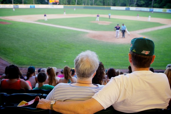 Fans watch the Sanford Mainers take on the Valley Blue Sox at Goodall Park on Monday night. Babe Ruth once made a barnstorming appearance on the field in 1919.