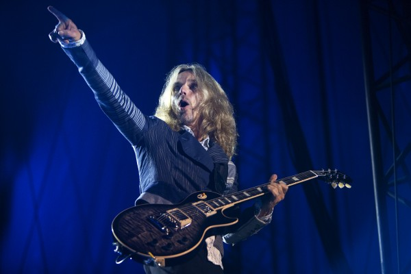 Styx's Tommy Shaw amps up the crowd during the Styx, Foreigner and Don Felder show Saturday at the Darling's Waterfront Pavilion in Bangor.