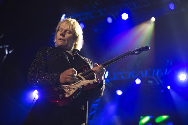 Styx's James Young plays his guitar during the Styx, Foreigner and Don Felder show Saturday at the Darling's Waterfront Pavilion in Bangor.