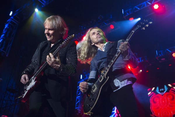 Styx's James Young (left) and Tommy Shaw perform during the Styx, Foreigner and Don Felder show Saturday at the Darling's Waterfront Pavilion in Bangor.