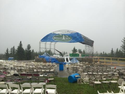 Hurricane Arthur caused significant damage to the Balsam Valley Amphitheatre, but volunteers worked Saturday to try to get the theatre ready for a concert on Sunday.