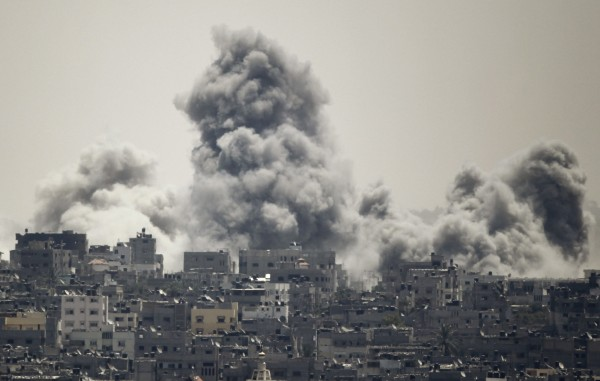 Smoke rises during an Israeli offensive in the east of Gaza City on Sunday.