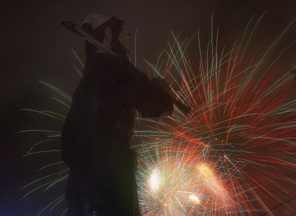 Bangor's fireworks display went on as scheduled, despite torrential rain from Hurricane Arthur.