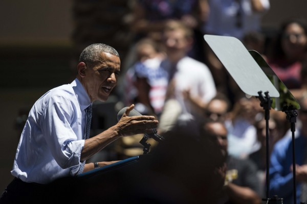 President Barack Obama speaks at Los Angeles Trade Technical College on Thursday.