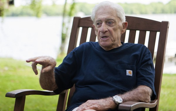 Donn Fendler reflects on the 75th anniversary of his being &quotLost on a Mountain in Maine&quot on July 24 at his camp in Newport.