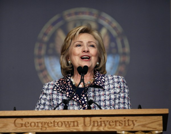 Former U.S. Secretary of State Hillary Clinton spoke at a symposium on advancing Afghan women at Georgetown University in Washington in this November 15, 2013, file photo.