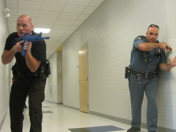 The Waldo County Sheriff's Office and Maine State Police participated in the Saturday morning emergency drill that simulated a school shooting at Mount View High School in Thorndike. The state trooper pictured in the hallway is Donald Webber.