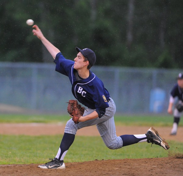 Bangor's Justin Courtney pitches during the American Legion game against Hampden in Hampden on June 26, 2013.