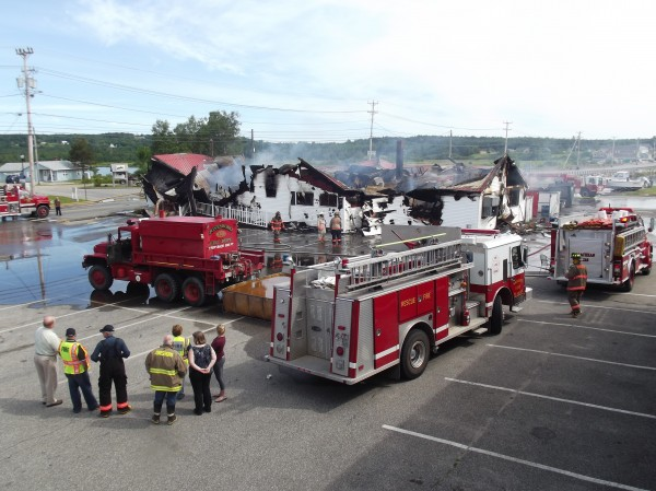 Helen's Restaurant, a landmark business on U.S. 1 in Machias, is a smoking ruins after an early morning blaze destroyed the building on Friday.