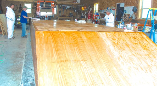 The Acadian Queen, a replica of a historical St. John River ferry boat, is taking shape in a Grand Isle snowmobile garage.