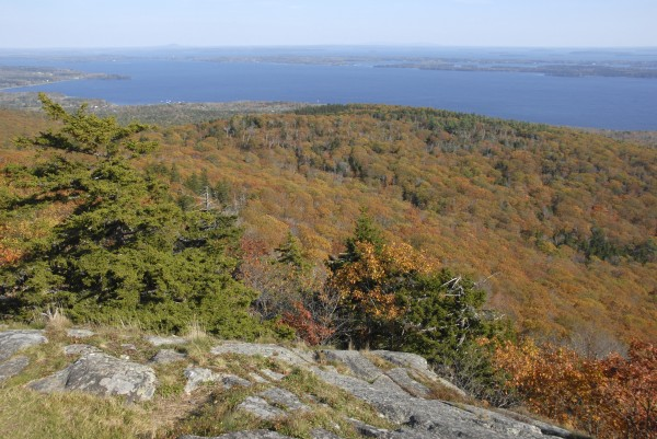 From the summit of Bald Rock Mountain in Camden Hills State Park, the fall foliage extends across the Lincolnville hills toward Penobscot Bay in this October 2013 file photo.