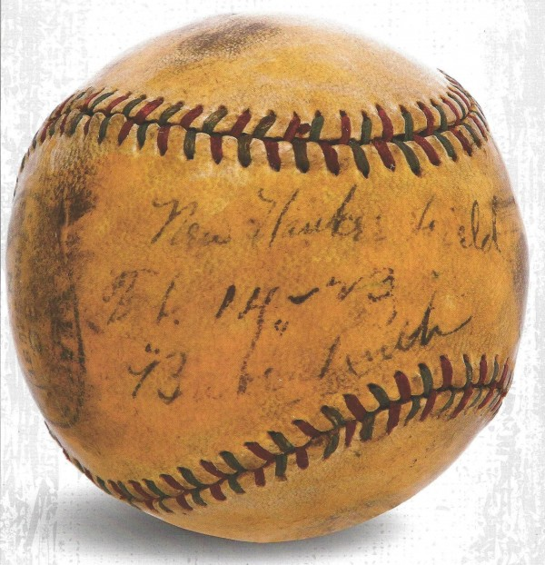 A baseball, hit by legendary baseball player Babe Ruth into the stands at a newly constructed Yankee Stadium in 1923, is pictured in this undated handout photo.