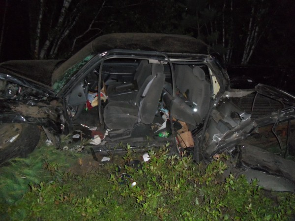 A pickup truck rests off Town House Road in Waterboro after a single-vehicle accident on Sunday night.