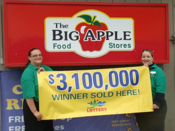 "The Big Apple store on South Main Street in Brewer, which is owned by C.N. Brown, sold a $3.1 million ""Megabucks"" lottery ticket drawn on July 19. Pictured are store manager Veronica Potvin (left) and store clerk Karen Patchell, who sold the winning ticket."