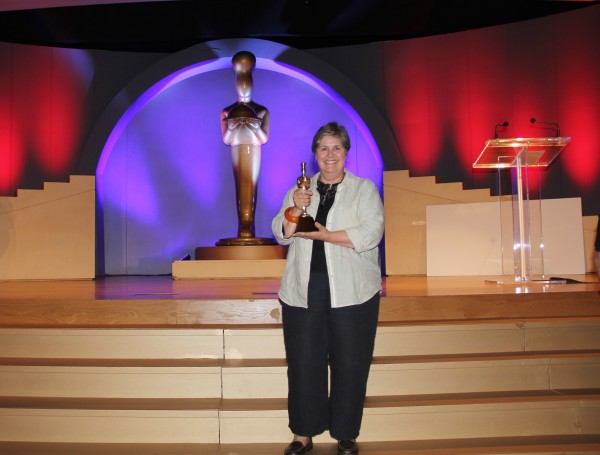 Cal Hancock with her 11th sofi award this week in New York City.