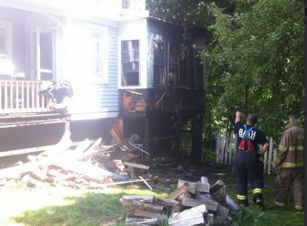 A nanny, two small children and a dog are safe following a fire at 1141 Washington St. in Bath.