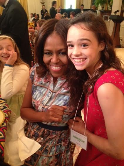 Sienna Mazone (right) met Michelle Obama during the Kids' &quotState Dinner&quot for the Healthy Lunchtime Challenge on July 18 at the White House.