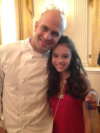 Sienna Mazone (right), the Maine winner of the Healthy Lunchtime Challenge, poses for a photo with Sam Kass, chef to the First Family and Senior Policy Advisor for Nutrition, the Kids' &quotState Dinner&quot on July 18 at the White House.