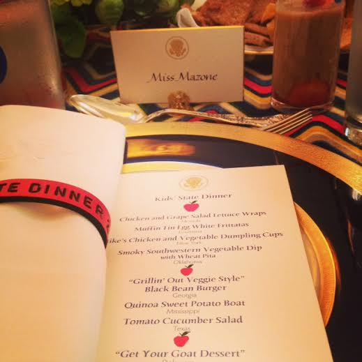 Sienna Mazone's place setting at a celebratory dinner on July 18 at the White House. Mazone won the national Healthy Lunchtime Challenge for Maine with her recipe &quotMexican Haystack.&quot