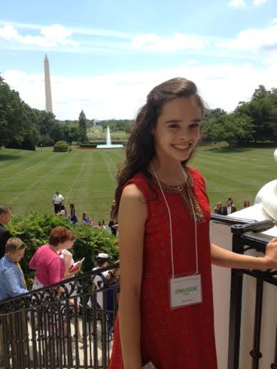 Sienna Mazone, the Maine winner of the Healthy Lunchtime Challenge, toured the White House kitchen garden after the Kids' &quotState Dinner&quot on July 18 in Washington D.C.