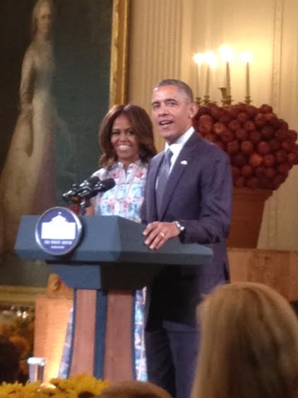 President Barack Obama and Michelle Obama spoke at the Healthy Lunchtime Challenge celebratory meal on July 18 in Washington D.C.