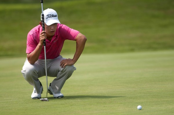David Chung lines up his putt during the Greater Bangor Open final round at the Bangor Municipal Golf Course in Bangor. Chung won the GBO in a playoff against Mike Van Sickle, who shot a course record 60 on Thursday.