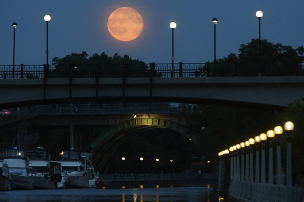 A supermoon is seen over the Rideau Canal on Saturday in Ottawa.