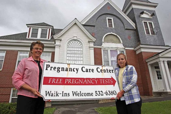 The Pregnancy Care Center in Houlton has moved to the basement of the former Military Street Baptist Church. An open house will be held from noon to 3 p.m. Tuesday, July 15, and Thursday, July 17. Standing in front of their new office are Pat Foster (left), center director, and Julie Chapla.
