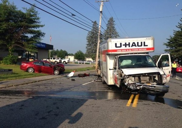 A U-haul truck and a sedan were involved in a collision in Brunswick on Wednesday morning.