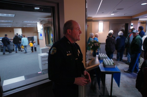 Former Bangor Police Chief Don Winslow organizes tours of the new police station during an open house.