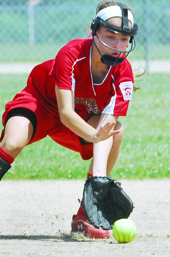 Scarborough's second baseman Ava McDonald fields a ball from the bat of a Shaker Valley hitter during the State Little League Softball Tourney for ages 11-12 at Hermon Little League Field on Saturday.