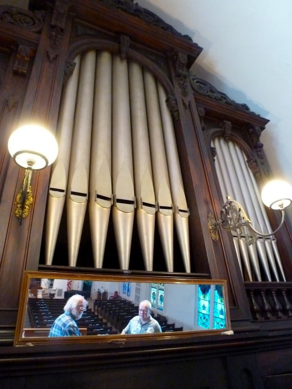 A. David Morse (left) and the Rev. Mark Doty measure the organ loft on June 16 at Hammond Street Congregational Church in Bangor in preparation for the installation of a new pipe organ funded from the estate of a former member.