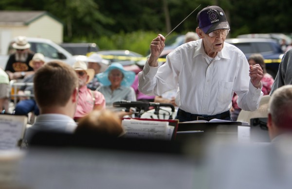 Henry F. Watson conducts the Bangor Band during a special concert to honor him Saturday at the Courtland Rehabilitation and Living Center in Ellsworth. Watson is a retired assistant conductor of the band.