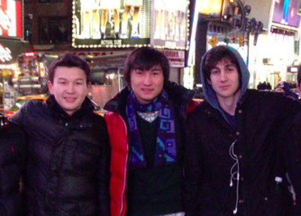 Boston Marathon bombing suspect Dzhokhar Tsarnaev (right) poses with Azamat Tazhayakov (left) and Diaz Kadyrbayev in an undated photo taken in New York. Tazhayakov was found guilty of obstructing justice Monday, July 21, 2014.