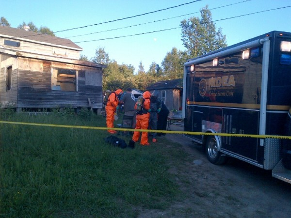 The Maine Drug Enforcement Agency was working Thursday to dismantle a suspected methamphetamine lab at 233 Clark Road in Merrill.
