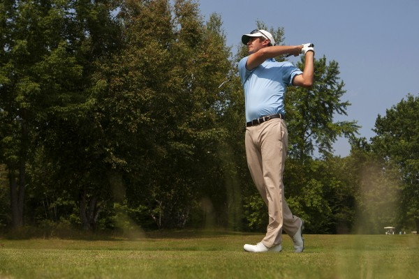 Jesse Larson tees off during the Greater Bangor Open final round at the Bangor Municipal Golf Course in Bangor.