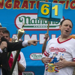 Joey Chestnut chows down 5th hot dog contest win