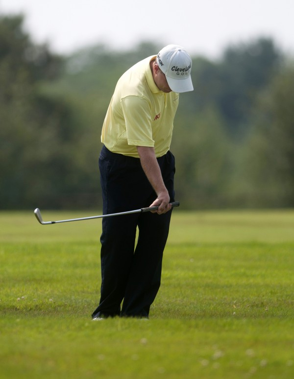 Mike Van Sickle reacts after hitting towards the green during the Greater Bangor Open final round at the Bangor Municipal Golf Course in Bangor.