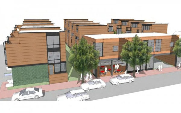 East Cove Townhomes would have 14 houses and a commercial space topped by studio condominiums.