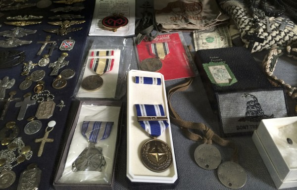 Military memorabilia collected by the Maine Troop Greeters over the last 11 years is on display in the greeter's room at Bangor International Airport.
