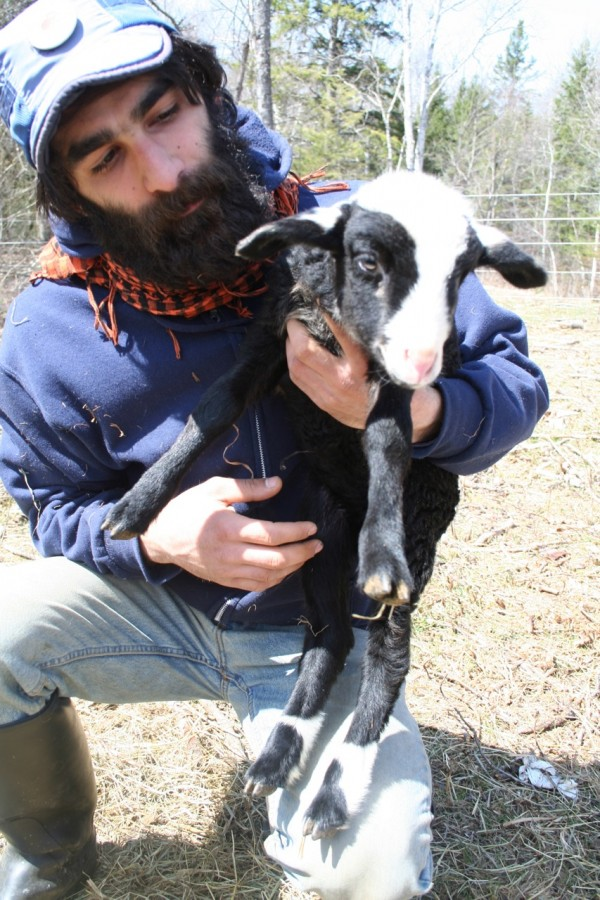 Aktan Askin, pictured earlier this year, with a lamb he raised on Lor Farm in Thorndike.