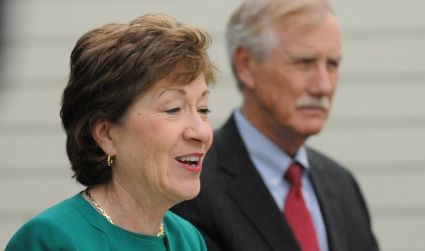 Sen. Susan Collins gets an endorsement from Angus King in this May 16 photo.