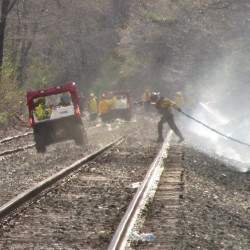 Train 'throwing out sparks' triggers line of fires through 5 Maine towns, destroys 10 campers