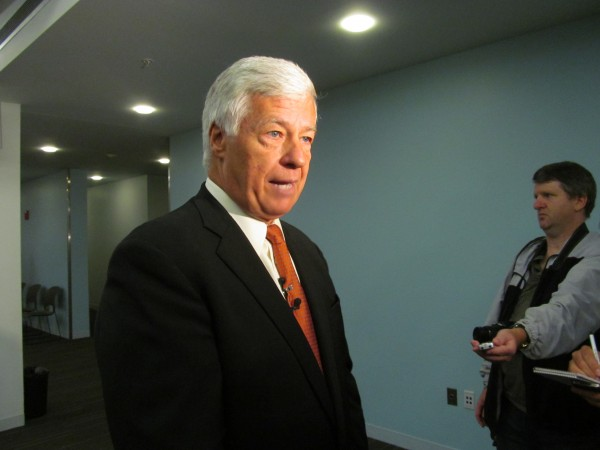 U.S. Rep. Mike Michaud discusses compromise legislation that is aimed at correcting problems in the Veterans Administration health care system on Monday at the Portland Public Library.