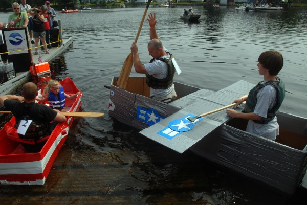 The key to a successful cardboard floater? Duct tape. Or so said some of the competitors in the the 2014 Lincoln Homecoming's &quotRedneck Regatta&quot on Saturday, July 19, 2014.
