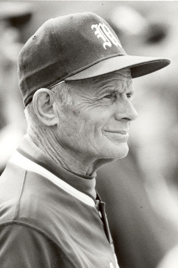 Maine baseball coach John Winkin watches his team during a game in May 1992.