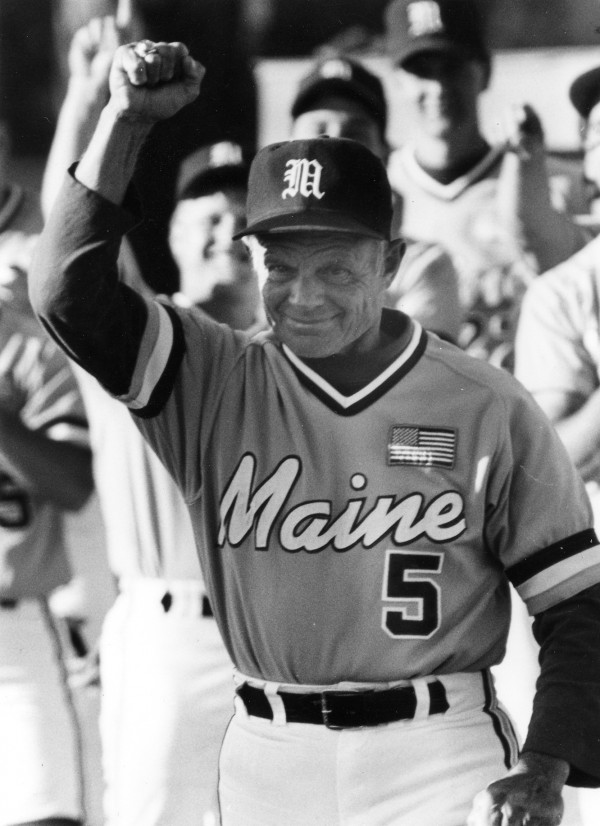 Maine coach John Winkin celebrates his team's ECAC championship in May 1991.