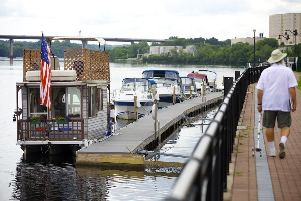 Guy Armstrong of Carmel keeps his houseboat docked on the Bangor Waterfront throughout the summer months.