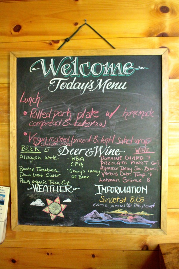 The hut crew at Flagstaff Lake Hut, one of the four eco-friendly lodges in the Maine Huts & Trails system in western Maine, writes menus and hut news on a chalkboard in the hut's common room on a daily basis. The huts operate on a rotating menu and also sell locally brewed beer and a selection of wine.