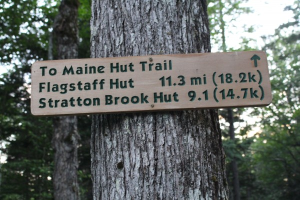 Signs mark the many trails that make up the Maine Huts & Trails system in western Maine on July 12, 2014.